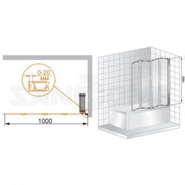 Cezares Pratico V4 100/140 P Cr L/R шторка на ванну