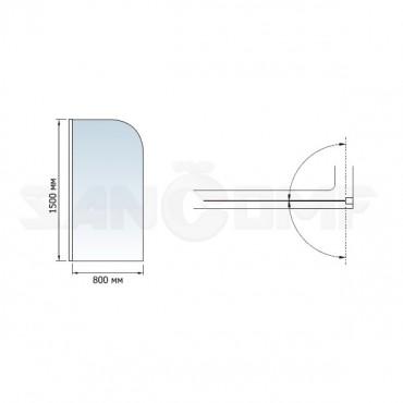Шторка на ванну RGW Screens SC-01 80x150
