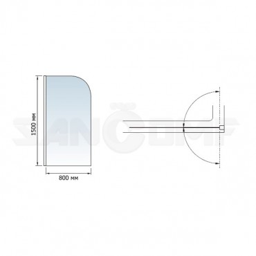 Шторка на ванну RGW Screens SC-06 80x150 с ручкой