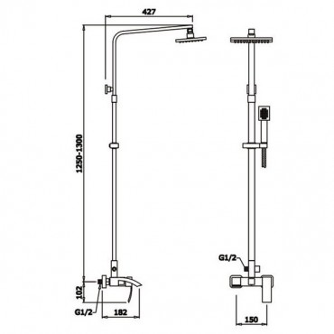 Ganzer GZ25062 душевая система для ванны