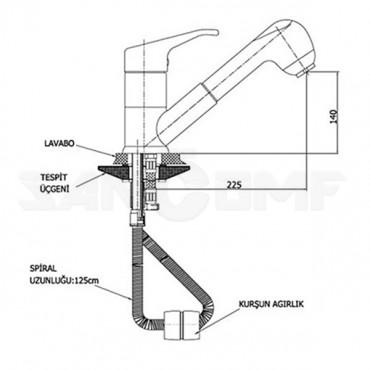 Смеситель для кухни GPD Kalipso MES20 с выдвижным изливом
