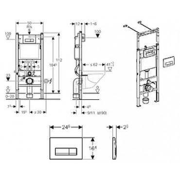 Система инсталляции для унитазов Geberit Duofix 458.125.21.1 4 в 1 с кнопкой смыва
