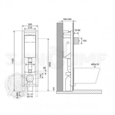 Система инсталляции для унитазов Migliore Quadra ML.QDR-27.663 без кнопки