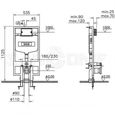 Система инсталляции VitrA 748-5800-01 для унитазов