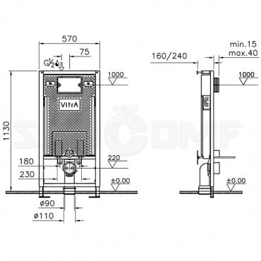 Система инсталляции VitrA Professional 748-5800-01 для унитазов