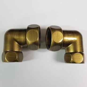 Американка угловая для полотенцесушителя Г/Г1х3/4 бронза