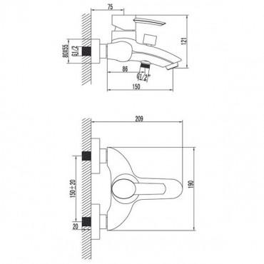 Lemark Atlantiss LM3202C смеситель для ванны