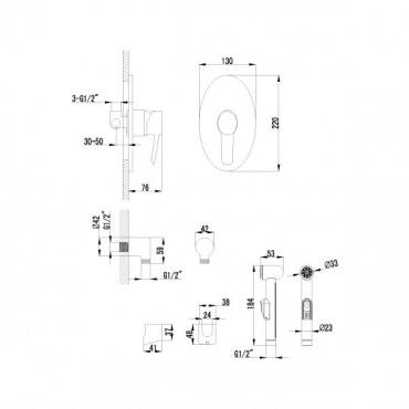 Lemark Atlantiss LM3219C смеситель с гигиеническим душем