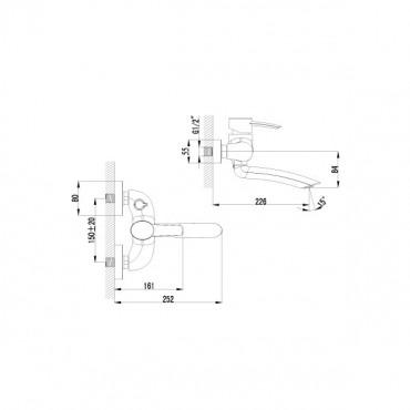 Смеситель для ванны Lemark Atlantiss LM3214C