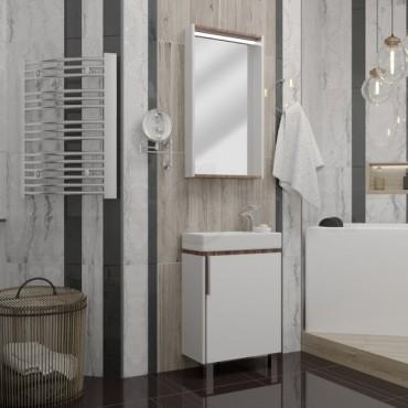 Мебель для ванной Акватон Бэлла белый глянец/джарра (Цена указана за тумбу и умывальник)