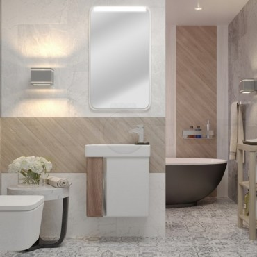 Мебель для ванной Акватон Вита белый/ясень шимо (Цена указана за тумбу и умывальник)