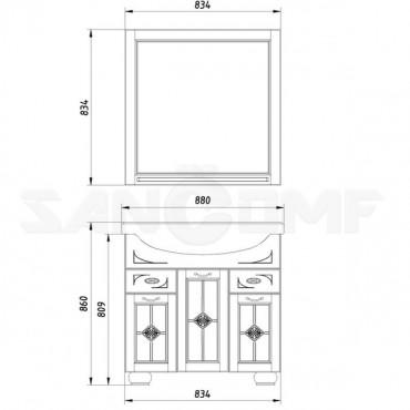 Мебель для ванной ASB-Woodline Бергамо 85 белая, патина серебро