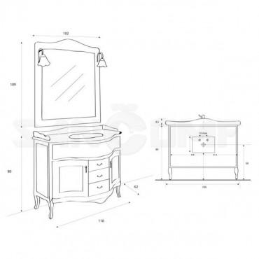 Мебель для ванной Cezares Andama ciliegio anticato - Цена указана за тумбу и раковину!
