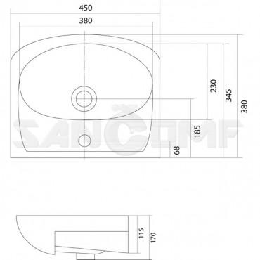 Мебельная раковина АКВАНЬЮ 45