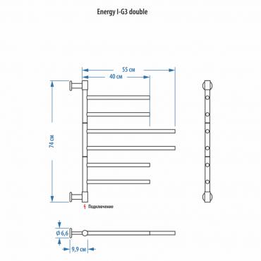 Электрический полотенцесушитель Energy I chrome G3 Double