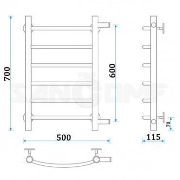 Водяной полотенцесушитель ENERGY («ЭНЕРДЖИ») Step 600x400
