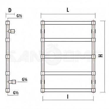 Электрический полотенцесушитель Garcia Дюма 500х700 5П античная бронза