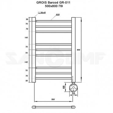 Полотенцесушитель электрический GROIS Barcod GR-011 80х50 п9 черный