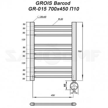 Полотенцесушитель электрический GROIS Barcod GR-015 70х45 п10 белый
