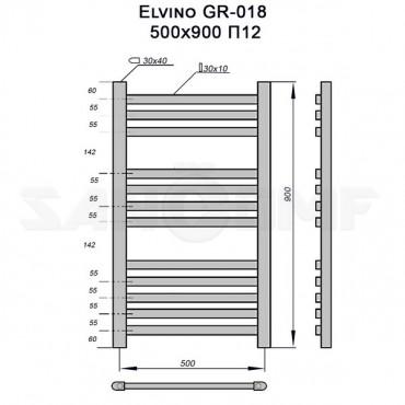 Полотенцесушитель электрический Elvino GR-018 90x50 П12 черный