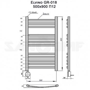 Полотенцесушитель электрический Elvino GR-018 90x50 П12 RAL9005 gitzwart A