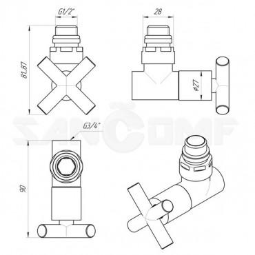 Вентиль крест запорный угловой (zz-4704) 3/4х1/2 г/ш с кранами для полотенцесушителей