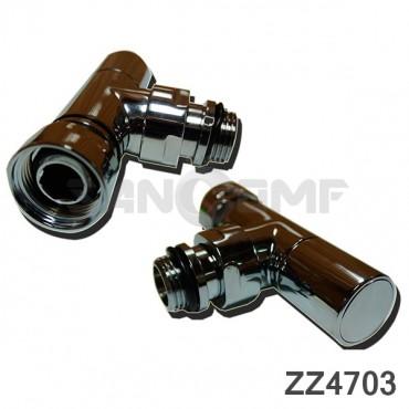 Вентиль запорный угловой (ZZ-4703) 3/4-1/2 г/ш с кранами для полотенцесушителя