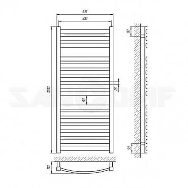 Электрический полотенцесушитель масляный LARIS («ЛАРИС») Атлант П16 1200х500