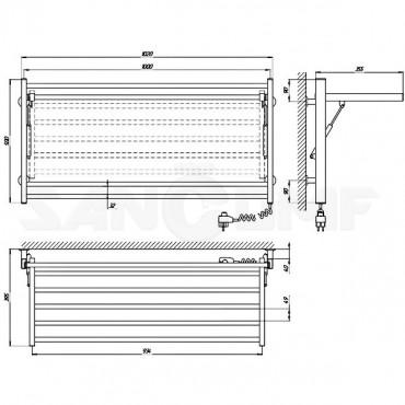 Электрический полотенцесушитель Laris Классик Горизонт белый П8 500x1000