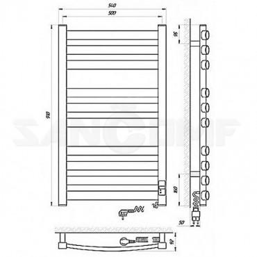 Электрический полотенцесушитель LARIS Гранд Премиум П10 900х500 (блок управления)