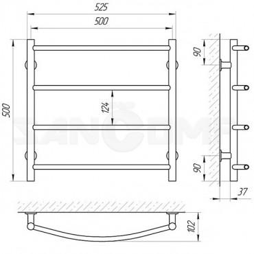 Электрический полотенцесушитель LARIS («ЛАРИС») Классик П4 500х500 белый