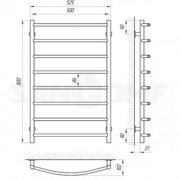 Электрический полотенцесушитель LARIS («ЛАРИС») Классик П8 800х500 белый