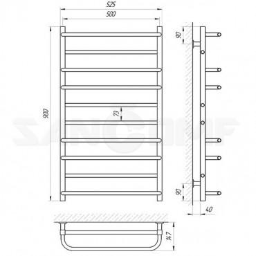 Электрический полотенцесушитель LARIS («ЛАРИС») Комфорт П10 900х500 белый