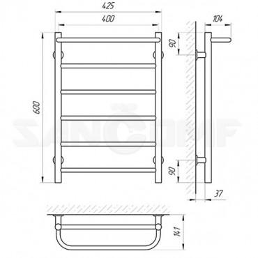 Электрический полотенцесушитель LARIS («ЛАРИС») Прайм П6 600х400 белый