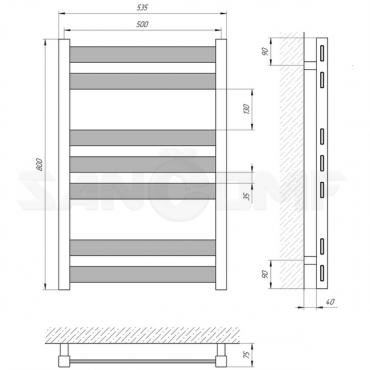 Водяной полотенцесушитель Laris Бонд П7 500х800 черный