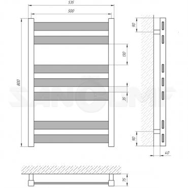 Водяной полотенцесушитель LARIS («ЛАРИС») Бонд П7 800х500