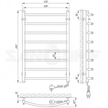 Электрический полотенцесушитель LARIS («ЛАРИС») Классик П6 - регулятор на вилке