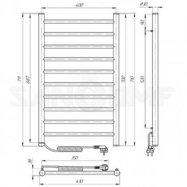 Электрический полотенцесушитель LARIS Классик П10 400х700 черный