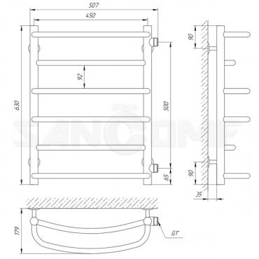 Водяной полотенцесушитель Laris Евромикс П6 черный 450Х600 Б/П 1 МЦ 500