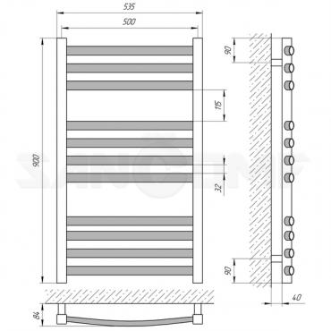 Полотенцесушитель водяной Laris Гранд П11 500х900 черный матовый
