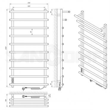 Электрический полотенцесушитель LARIS Каскад премиум П10 120х50 хром