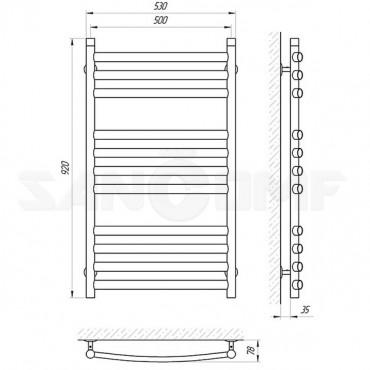 Водяной полотенцесушитель водяной LARIS («ЛАРИС») Классик Премиум П11 900x500