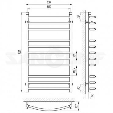 Водяной полотенцесушитель LARIS («ЛАРИС») Классик П11 900х500
