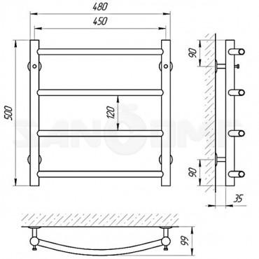 Водяной полотенцесушитель LARIS («ЛАРИС») Классик П4 500х450
