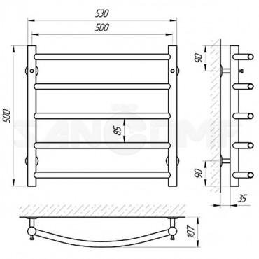 Водяной полотенцесушитель LARIS («ЛАРИС») Классик П5 500х500
