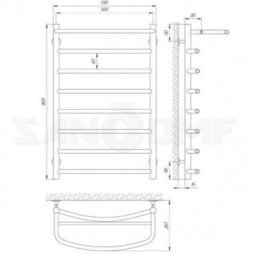 Водяной полотенцесушитель LARIS («ЛАРИС») Классик П8 800х500 с полкой