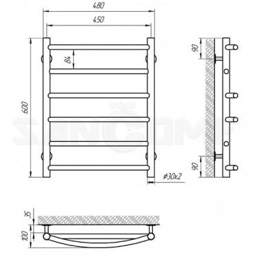 Водяной полотенцесушитель LARIS («ЛАРИС») Микс П6 600х450