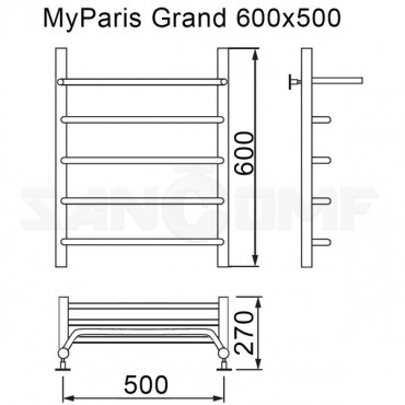 Полотенцесушитель водяной MyFrea MyParis Grand с полочкой