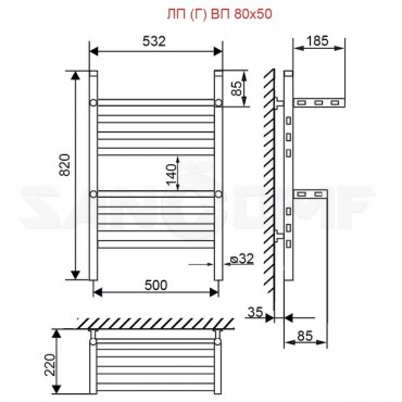 Полотенцесушитель водяной ПК Ника Classic ЛП(Г)ВП 80/50 нестандартный