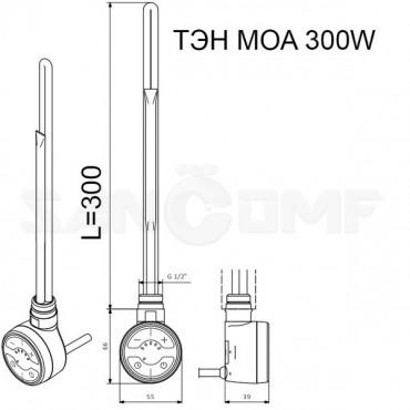 Электрический полотенцесушитель Ника Classic ЛП (г2) 80/50 Moa правый, скрытое подключение